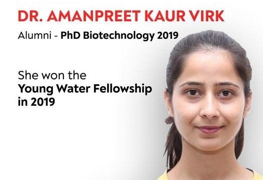Dr. Amanpreet wins international Young Water Fellowship